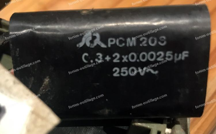 remplacement condensateur perceuse Peugeot PC 1086
