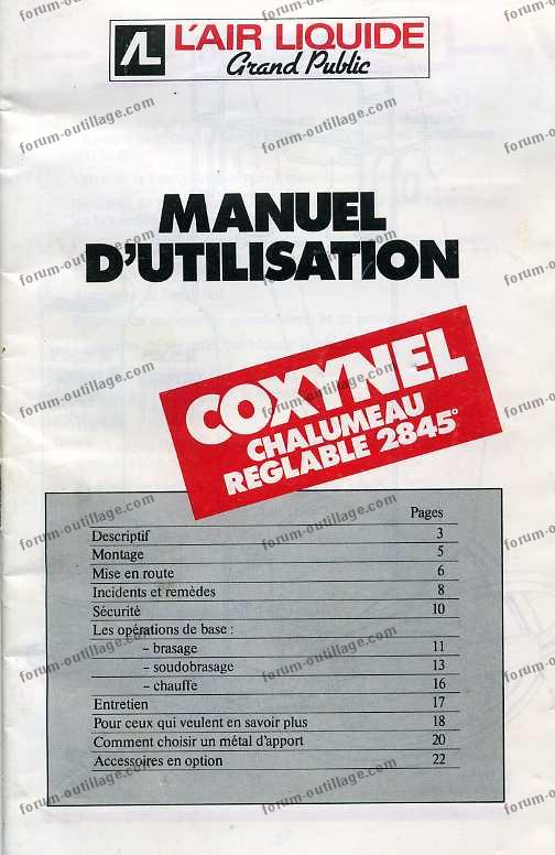 notice chalumeau coxynel 01