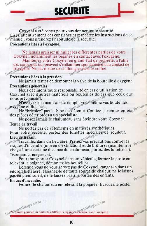 notice chalumeau coxynel 10