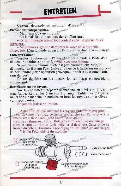 notice chalumeau coxynel 17