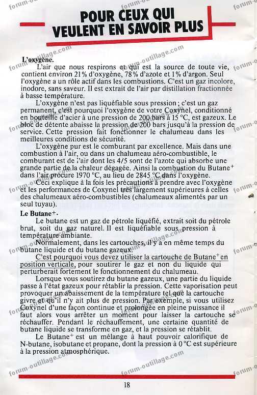 notice chalumeau coxynel 18