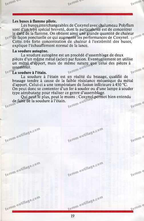 notice chalumeau coxynel 19