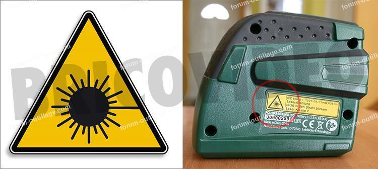 pictogramme signalant le rayonnement d'un niveau laser