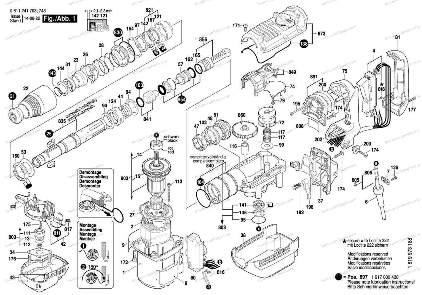 vue éclaté perforateur Bosch GBH 5-40 DE