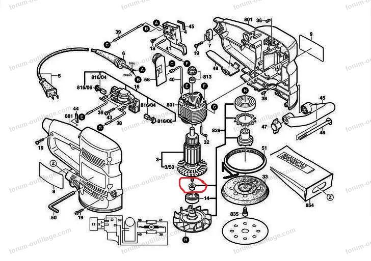 vue éclaté ponceuse Bosch PEX12 AE